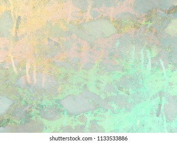 Gold and green mint marble background. Shiny, glitter and glossy effect for an elegant and colorful wallpaper.