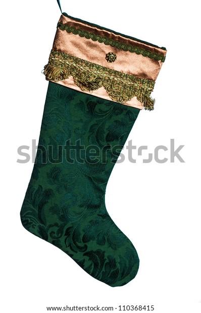 Victorian Christmas Stockings.Gold Green Satin Fringe Victorian Christmas Stock Photo