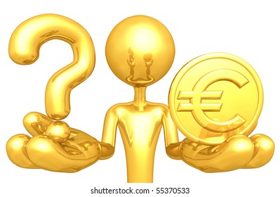 Gold Guy With A Question And Gold Coin