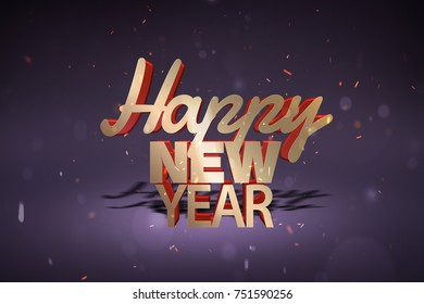 Gold Happy New Year title is written over a festive background with drop shadow. 3D rendering.
