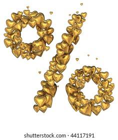 Gold heart percent sign