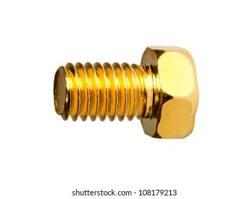 Gold hexagon head bolt isolated on a white background