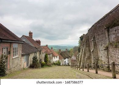 Gold Hill, Dorset / United Kingdom - 28 April 2018 View from the top of Gold Hill on a cloudy spring day