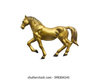gold horse on a white background