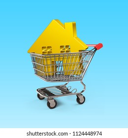 Gold house in shopping cart, isolated on white background, on-line shopping concepts, 3D illustration.