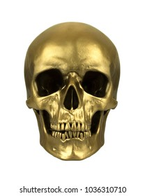 Gold human skull, isolated on white background