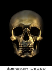 Gold human Skull Isolated on black