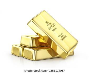 Gold ingot isolated on a white. 3d illustration - Shutterstock ID 1553114057