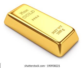 Gold ingot isolated on white background