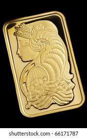 gold ingot on black  background