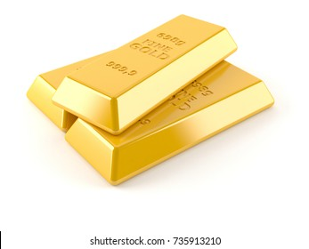 Gold ingots isolated on white background. 3d illustration