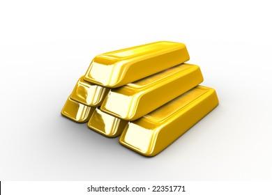 Gold ingots on white background