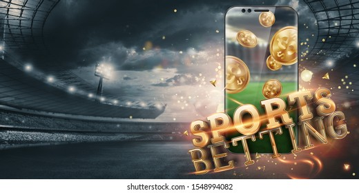 Gold inscription Sports Betting on a smartphone on the background of the stadium. Bets, sports betting, bookmaker. Mixed media.
