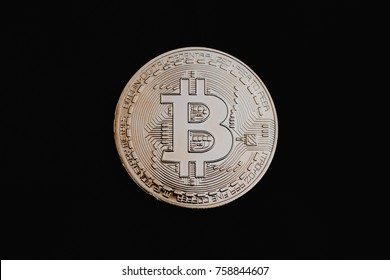 gold isolated bitcoin, crypto currency coin, black background