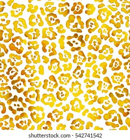 Gold jaguar pattern illustration. Leopard brush stroke. Raster seamless texture isolated on white background.