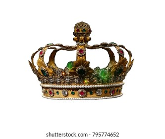Gold and jewel King or queen's crown, isolated on white