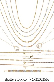 Gold jewellery. Gold chain necklace and bracelet