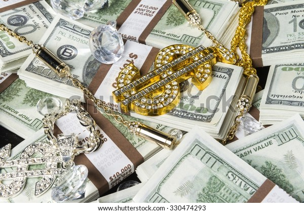 Gold Jewelry Bling Money Stock Photo (Edit Now) 330474293