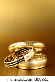 gold jewelry, bracelets