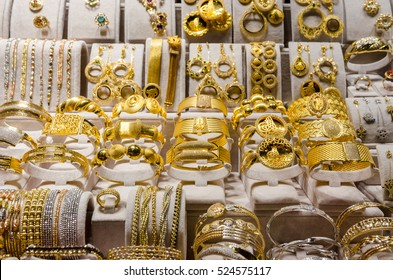 Gold Jewelry at the Egyptian Bazaar and the Grand Bazaar in Istanbul, Turkey.
