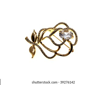 Gold jewelry isolated on a white background
