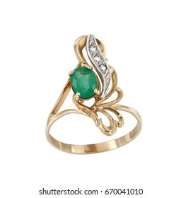 Gold jewelry ring with emerald isolated on white background