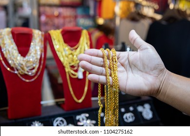 gold jewelry in gold shop