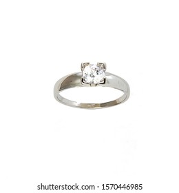 Gold jewelry: white gold ring with cubic Zirconia