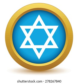 Gold Judaism icon on a white background