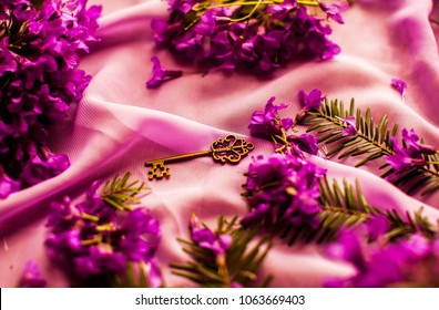 Gold key. Old vintage key. Pink wrap background. Macro image of spring lilac violet flowers, abstract soft floral background. Filter