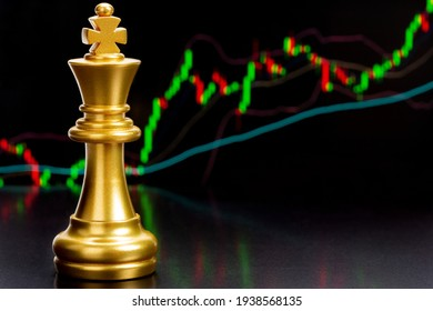 Gold king in battle chess game stand on candlestick chart describe price movements of currency or stock market, business and financial investment concept