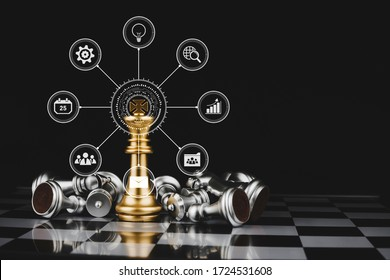 gold king surrounded with silver chess pieces on chess board game competition with virtual digital icon on dark background, chess battle, digital marketing, team leader, business strategy concept
