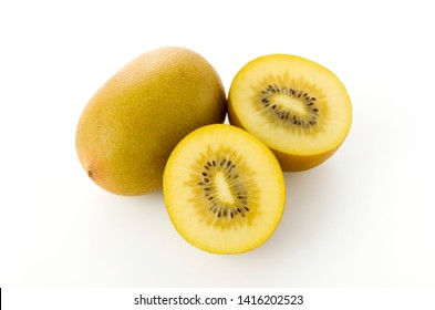 gold kiwi on white background