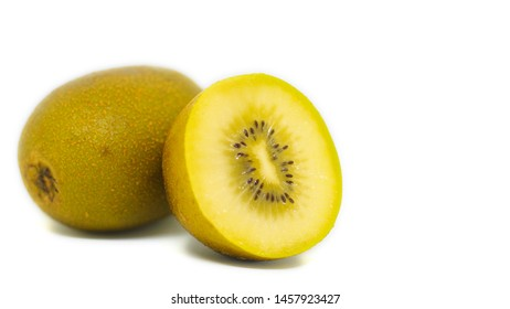 gold kiwi on white background.