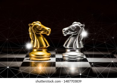 gold knight chess facing silver knight chess on chess board and abstraction connection line network screen, business strategy concept