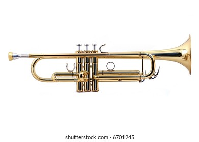 gold lacquer trumpet with mouthpiece isolated on white
