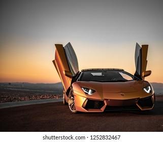 Gold Lamborghini Aventador Sunset Lowkey Captures Las Vegas, Nevada / USA - November