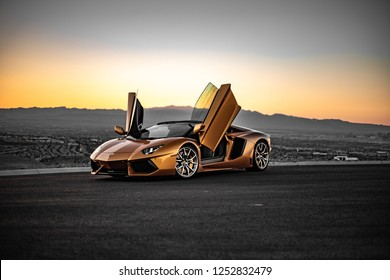 Gold Lamborghini Aventador Sunset Lowkey Captures Las Vegas, Nevada / USA - November