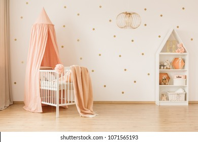 Gold lamp in spacious baby's bedroom interior with canopied pink crib against wallpaper