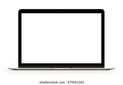 Gold Laptop with blank computer screen. Front view Mock up. 3d illustration