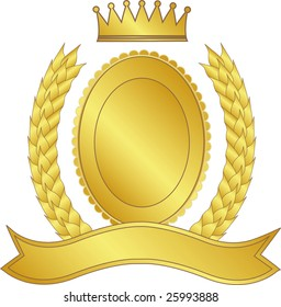 Gold laurel wreath and medallion with a crown
