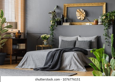 Gold leaf in frame on the wall above grey bed with dark blanket in elegant bedroom interior