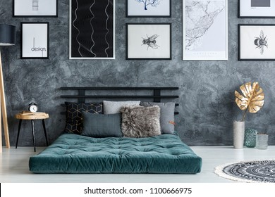 Gold leaf near green mattress with pillows in modern bedroom interior with gallery of posters