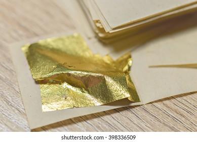 Gold Leaf sheets for Gilding - Shutterstock ID 398336509