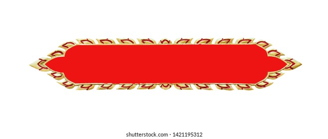 Gold leaves shaped sign plate frame  with red line patterns for text isolated on white background