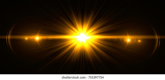 gold  lens flare light effect. Abstract background with shiny sparkle glowing . Easy to add overlay or screen filter over photo