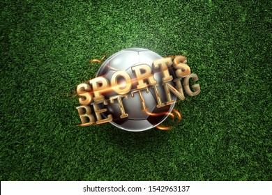 Gold Lettering Sports Betting on the background of a soccer ball and green lawn. Bets, sports betting, watch sports and bet. flat lay, top view.