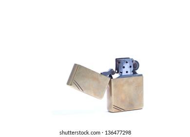 gold lighter isolated on white
