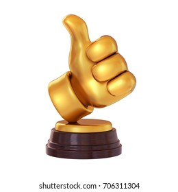 Gold like symbol Trophy on white background. Cartoon thumb up. isolated. 3d render