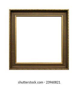 Gold lined frame isolated on white background. Including clipping path